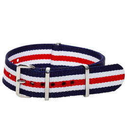 Watchband White UK - Wholesales 20mm Blue Red White Multi Stripes Nylon Military Nato Watch Strap Band Watchband