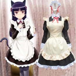 Vêtements Femmes Style Anime Pas Cher-Vente chaude Anime Cosplay Vêtements Femmes Costumes Kuroneko Wear Maid Style Dress Halloween Carnival Theme Party Wears Dresses
