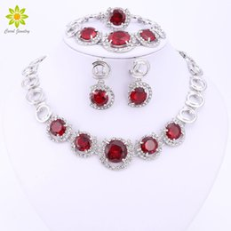China Women Jewelry Sets Silver Plated Fashion Necklace Earring Ring Sets Crystal African Costume Nigerian Woman Wedding Accessories cheap women costumes china suppliers