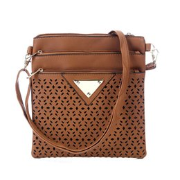 wholesale designer handbags Canada - Wholesale- Vintage Women Bag Hollow Out Crossbody Bags PU Leather Shoulder Bag Brand Women Messenger Bags Designer Handbags Bolsas Feminina