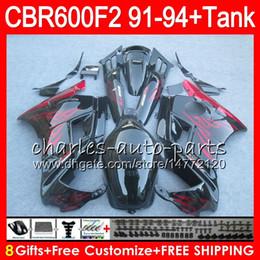 Red Honda F2 Canada - 8 Gifts 23 Colors For HONDA CBR600F2 91 92 93 94 CBR600RR FS 1HM1 red flames CBR 600F2 600 F2 CBR600 F2 1991 1992 1993 1994 black Fairing