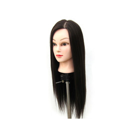 "dolls stands UK - 24"" Mannequin Head Hair Styling Training Head Manikin Cosmetology Doll Head Synthetic Fiber Hair (Table Clamp Stand Included)"