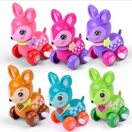Discount wind up toy springs - 5pcs lot Lovely wind up toy animal funny baby Zoo Baby deer design Running Clockwork Spring Toy newborn baby clockwork t