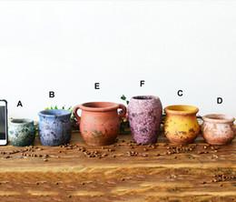 $enCountryForm.capitalKeyWord NZ - 6PCS-PACK Multi Color Chinese RetroStyle Clay Flower Pot for Succulent Plants Flowerpot Terracotta Pot Garden Decoration Mini Flower Pots