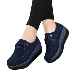 HigH platform creepers sHoes online shopping - 2017 Autumn women flats shoes thick soled high platform shoes leather suede ladies casual shoes lace up flats creepers