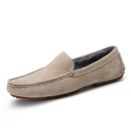 $enCountryForm.capitalKeyWord Canada - New Casual Shoes Winter Fur Men Loafers Slip On Fashion Drivers Loafer Pig Suede Leather Moccasins Plush Men Shoes