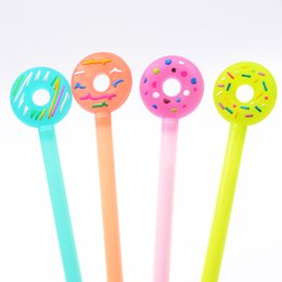 stationery Canada - DHL donuts shaped gel pen candy-colored 4 colors cartoon marker Lollipop stationery for office school students office supplies in stock
