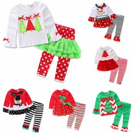 $enCountryForm.capitalKeyWord NZ - 7 Patterns Girls Christmas Outfits 2017 Ruffle Icing Pants With Santa Tee Clothing Sets for Xmas Toddler Girls Boutique Christmas Pajamas