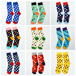 calf socks 2019 - Hot Fashion women&men dot Socks Stockings happy socks mid-calf length socks wen stockings cotton Leg warmers top quality
