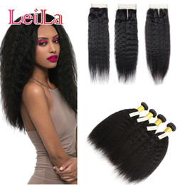 Coarse hair bundles online shopping - Peruvian Unprocessed Kinky Straight Bundles with Lace Closure Free Middle Three Part Human Hair Weft Coarse Yaki Full Hair