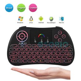 mini qwerty keyboard for laptop Canada - Latest Arrival P9 2.4GHz Wireless Mini Keyboard Colorful Backlight Fly Mouse QWERTY Keyboard with Touchpad for Laptop Android Boxes