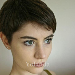 $enCountryForm.capitalKeyWord Australia - New Arrival Rihanna Hairstyle Human Hair Wig Straight Short Pixie Cut Wigs For Black Women Full Lace Front Bob Hair Wigs