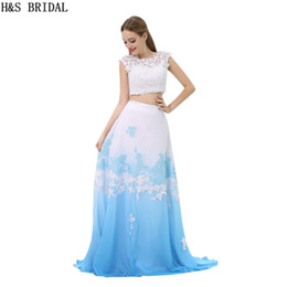 lovely chiffon prom dresses UK - Fashion Two Pieces Prom Dresses White And Blue Backless Appliques Long Girls Lovely Party Gowns Real Photos Evening Dresses B024