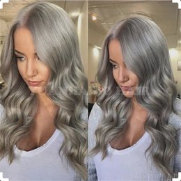 $enCountryForm.capitalKeyWord Canada - Celebrity Wigs Grey Color Full Lace Wig Loose Wave Brazilian Virgin Human Hair Glueless Lace Front Wigs For Black Woman Free Shipping