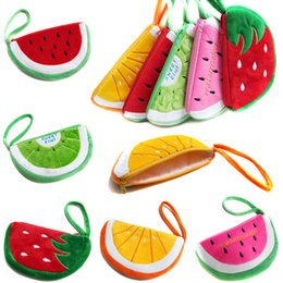 Wholesale fruit Purses styles New Plush Cartoon Coin Purses strawberry watermelon orange Purse Coin Bags Earphone Bags moblie phone bag