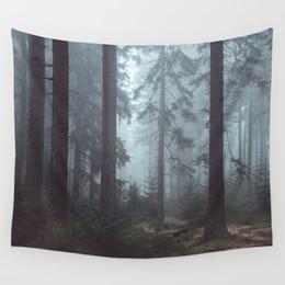 деревянный туман лес стены висит ткань декоративный пейзаж гобелен полиэстер nordic декор модные печатные tenture