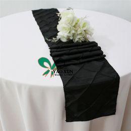 cheap price taffeta pintuck table runner for wedding table cloth decoration