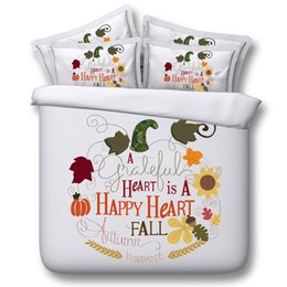 Discount fall bedding - Happy Heart Fall Words 3D Bedding Sets 4 5pcs modal Comforter Sets Tiwn Full Queen King Size Duvet Cover Bed Sheet Pillo