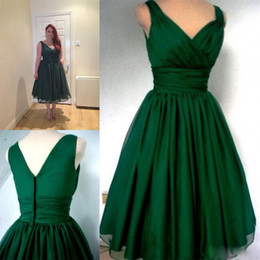 Emerald Green 1950s Cocktail Party Dress 2018 Vintage Tea Length Plus Size Chiffon Elegant Ruched V-neck Straps Real Photo Short Prom Gowns