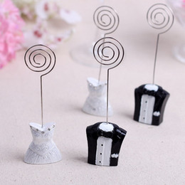 table place cards holders NZ - Bride & Groom Male Female Wedding Place Card Name Holder Table Number Favor Decoration Resin Craft DHL Free Shipping