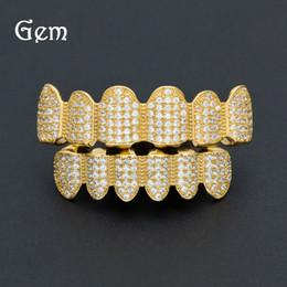 $enCountryForm.capitalKeyWord Canada - Pop Hip Hop Jewlery Set Grillz Gold Plated Full Diamond Braces Teeth Accessories High Street Jewelries