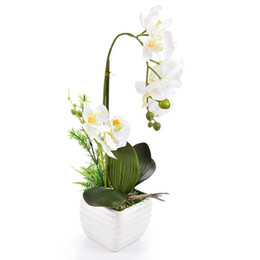 $enCountryForm.capitalKeyWord Canada - 1set Silk Real Touch Home Decor Artificial Phalaenopsis Orchid Flower Arrangement Small Bonsai Plants With Ceramic Flower Pot