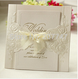 Wholesale  50PCS Laser Cut Vintage Rose Floral Wedding Invitations Cards  With A Tie Wedding Centerpeices Ivory Cheap Floral Vintage Wedding  Invitations