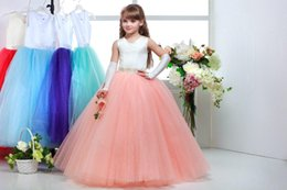 China new Ivory top coral blue buttom tulle flower girl dresses v-neck beading junior bridesmaid dress girls pageant dress girls christmas dress suppliers