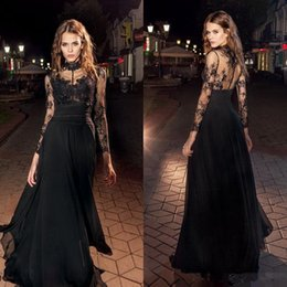 $enCountryForm.capitalKeyWord Canada - Elegant 2017 Black Sexy High Neck Lace Appliques Evening Dresses A Line Women Long Sleeves Celebrity Chiffon Prom Party Gowns