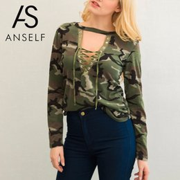$enCountryForm.capitalKeyWord NZ - Wholesale- Anself Fashion Camouflage Print Women Tops V Neck Long Sleeve T Shirt Femme Sexy Lace Up T Shirt Women Tee Shirt Camiseta Mujer