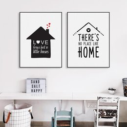 Life Houses Canada - Black White Nordic Minimalist Houses Love Quotes A4 Canvas Art Print Poster Wall Picture Painting Home Kids Room Decor No Frame