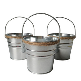 Chinese  D10.5*H9.5CM Mini Small Rustic Metal garden Meat plant pot tin box Iron pots Silvery Planter wedding bucket manufacturers