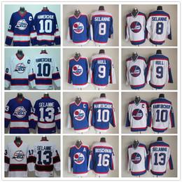 7729963b00c Mens Winnipeg Jets Hockey Jerseys 13 Teemu Selanne 10 Dale Hawerchuk 9  Bobby Hull 16 Laurie Boschman 8 Selanne Vintage CCM Jersey