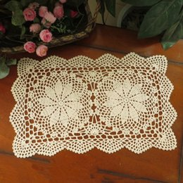 $enCountryForm.capitalKeyWord Canada - Lot of 6 pcs ~ crochet hook Beige Home Textiles handmade crochet table mats, crochet coasters, oblong doilies for home decor