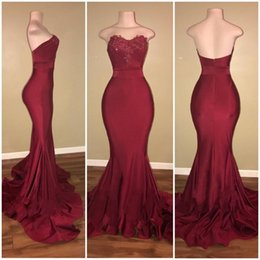 Robe Simple Pour Les Filles Pas Cher-Bourgogne Robe de soirée Robes de bal 2017 Long Sexy Simple Black Girl Dentelle Red Mermaid Prom Dress Custom Made