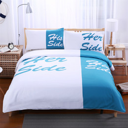 light blue and white bedding set his side u0026 her side couple home textiles soft duvet cover with pillowcases 3pcs hot sale