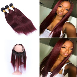 Roots Band Canada - Dark Root Burgundy Ombre Color #1B 99J Silky Straight Hair 3 Bundles With 360 Lace Band Frontal closure With Baby Hair 22.5*4*2