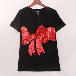 Kawaii bows online shopping - Colors Kawaii T Shirt Women Bow Sequined Sequins T shirt Women Tops Tee Shirt Femme New Summer Fashion Women Clothing