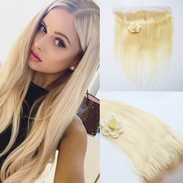 "613 closure piece Canada - Brazilian Remy Hair 13""X4"" Free Part 613 Blonde Lace Frontal Closure Straight Human Hair 130% Density"