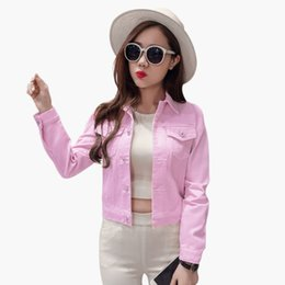 Jeans Décontractés Pour Femmes Rose Pas Cher-Vente en gros 2017 Nouvelle mode Femmes Denim Jacket Ladies Pink Casual Jeans Short Coat Moto Vestes Boyfriend Style Outwear Tops 2XL