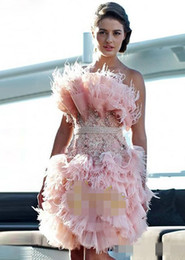 feathered white cocktail dress 2019 - 2019 Feather Pink Knee Length Cocktail Dresses Strapless Crystal Custom Made Prom Party Gowns cheap feathered white cock