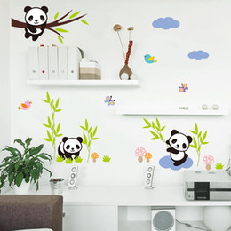 panda arts NZ - Cartoon Forest Panda Bamboo Birds Tree Wall Stickers For Kids Room Baby Nursery Room Decor Animals Wall Decals Mural Art