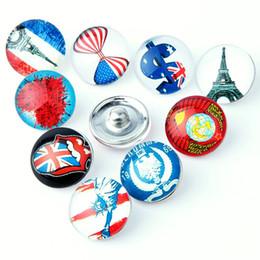 Glass Snap Button Charms NZ - 20PCS New American Symbol Glass Snap Button For 18mm Ginger Snap Buttons Alloy Bracelet Necklace Jewelry