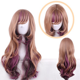 $enCountryForm.capitalKeyWord NZ - Z&F Lolita Hair Wigs 24 inch Mixed Ombre Colors Purple Brown Rose Hair Net Harajuku style Japanese Long Wave Wig