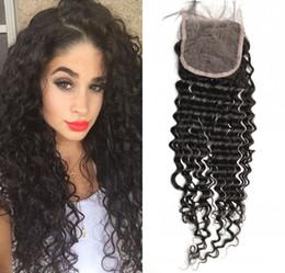 Discount vietnamese virgin hair closure - 100% Human Hair Deep Wave Lace Closure Indian Peruvian Brazilian Vietnamese Virgin Hair Natural Color Top Closures 8-22