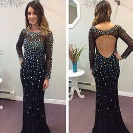 Barato Backless Vestidos De Mangas Compridas-Fabulous Black Evening Dresses for Women 2017 Sexy Backless Vestido de noite Sheer Neck Illusion Long Sleeved Crystals Beads Formal Gown