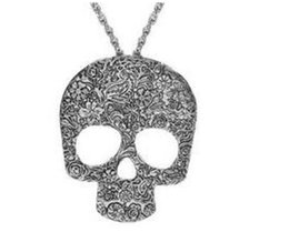$enCountryForm.capitalKeyWord NZ - Vintage Gothic Carved Flowers Skull Skeleton Pendant Necklace Sweater Design Long Chain Necklace for Girls Women Jewelry Christmas Gift
