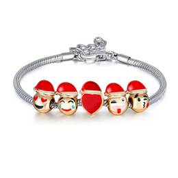 cute cartoon charms Australia - 2017 New Christmas Bracelet Creative Gifts Jewelry Cute Cartoon Smile Charms Bracelet DIY Beads Silver Plated Chain
