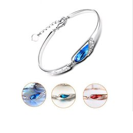 red crystal bangles NZ - 1pcs Natural Austrian Crystal Bracelet Fashion Jewelry 925 Sterling Silver Blue Clasp Chain Bangle Bracelet for Women