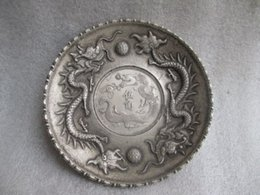 japanese pearls 2019 - 8.9 cm *  China Tibet silver COINS plate play pearl dragon statue cheap japanese pearls